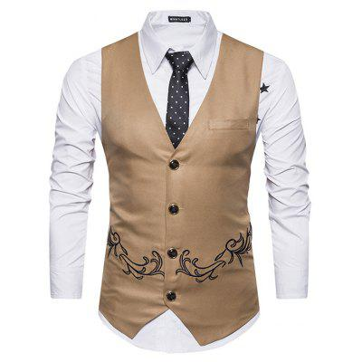 Male Turndown Collar Single Breasted Embroidery Waistcoat