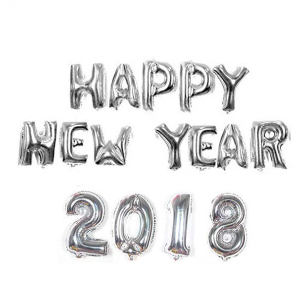 16 inch 2018 Happy New Year Words Pattern Balloon Decor