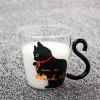 220ml Cat Glass Mug Coffee Tea Milk Cup - BLACK