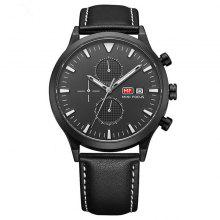 MINI FOCUS 0015 Casual Leather Band Men Quartz Watch