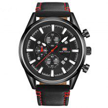 MINI FOCUS 0038 Trendy Leather Band Men Quartz Watch