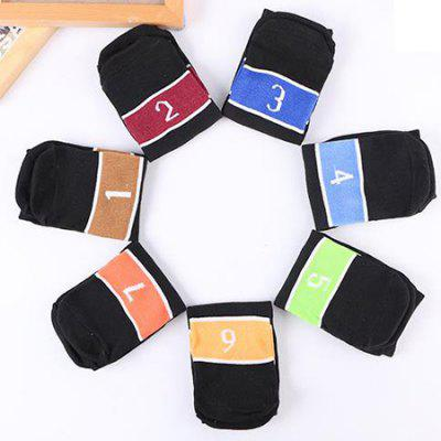 7 Paired Men Breathable Deodorant Number Pattern Socks