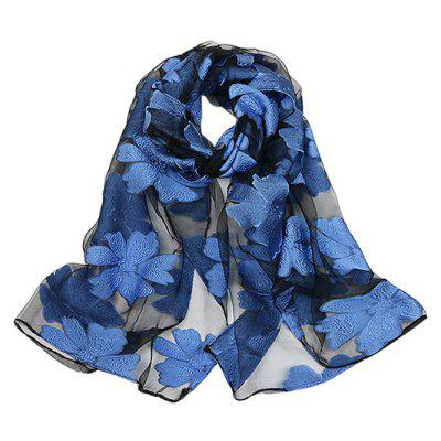 Western Style Thin Floral Pattern Shawl for Women