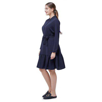 Stand Collar Flounce DressWomens Dresses<br>Stand Collar Flounce Dress<br><br>Dresses Length: Knee-Length<br>Embellishment: Button<br>Material: Polyester<br>Neckline: Stand<br>Package Contents: 1 x Dress<br>Package size: 35.00 x 28.00 x 3.00 cm / 13.78 x 11.02 x 1.18 inches<br>Package weight: 0.3900 kg<br>Pattern Type: Solid Color<br>Product weight: 0.3600 kg<br>Season: Fall, Spring<br>Silhouette: A-Line<br>Sleeve Length: Long Sleeves<br>Style: Casual<br>With Belt: Yes