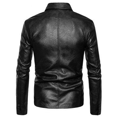 Male PU Leather Pure Color Turn-down Collar Button up JacketMens Jackets &amp; Coats<br>Male PU Leather Pure Color Turn-down Collar Button up Jacket<br><br>Closure Type: Single Breasted<br>Clothes Type: Jackets<br>Collar: Turn-down Collar<br>Embellishment: Others<br>Materials: Polyester, PU<br>Occasion: Daily Use<br>Package Content: 1 x Jacket<br>Package Dimension: 30.00 x 40.00 x 1.00 cm / 11.81 x 15.75 x 0.39 inches<br>Package weight: 0.8200 kg<br>Pattern Type: Solid<br>Product weight: 0.8000 kg<br>Seasons: Autumn,Winter<br>Shirt Length: Regular<br>Sleeve Length: Long Sleeves<br>Style: Fashion<br>Thickness: Medium thickness