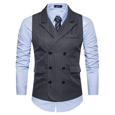 Male Turndown Collar Single Breasted Stripes Waistcoat