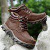 Men Outdoor Warmest Padded-ankle Hiking Boots - DEEP BROWN
