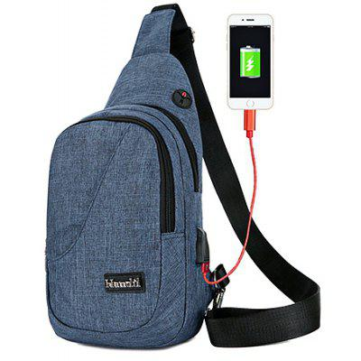 Men Casual Nylon Chest Bag with USB Port