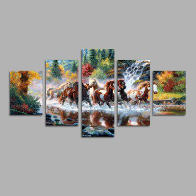 God Painting Horses in Water Frameless Canvas Print 5PCS