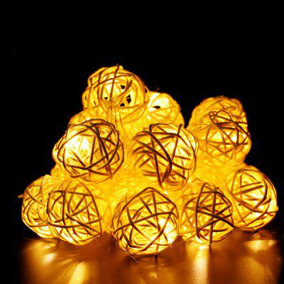 Creative 20-LED Decorative Rattan Ball Style String Lights