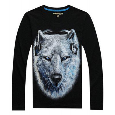 Simple Wolf Head Printing T-shirt