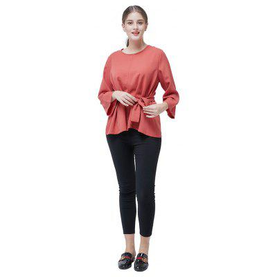 Oversize Solid Color Regular Blouse with Belt