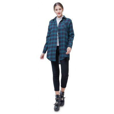 Casual Loose Plaid Long Blouse