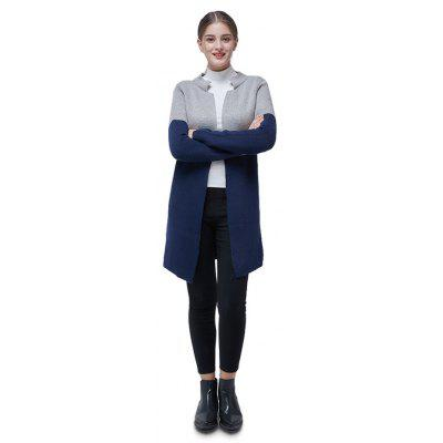 Brief Bicolor Stand Collar Long Cardigan