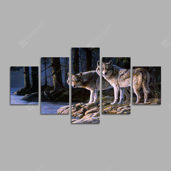 God Painting Two Wolves Frameless Canvas Decor Print 5PCS