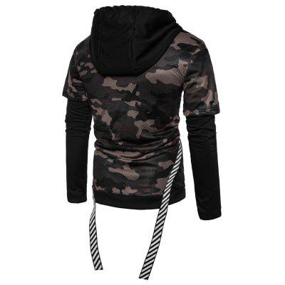 Fashion Fake Two Piece Camouflage HoodieMens Hoodies &amp; Sweatshirts<br>Fashion Fake Two Piece Camouflage Hoodie<br><br>Clothes Type: Hoodie<br>Material: Cotton, Polyester<br>Occasion: Casual<br>Package Contents: 1 x Hoodie<br>Package size: 30.00 x 35.00 x 1.00 cm / 11.81 x 13.78 x 0.39 inches<br>Package weight: 0.6200 kg<br>Product weight: 0.6000 kg<br>Style: Casual<br>Thickness: Regular