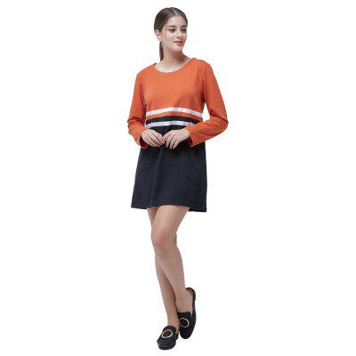 Round Collar Long Sleeve Spliced DressWomens Dresses<br>Round Collar Long Sleeve Spliced Dress<br><br>Dresses Length: Knee-Length<br>Material: Cotton, Polyester<br>Package Contents: 1 x Dress<br>Package size: 35.00 x 28.00 x 3.00 cm / 13.78 x 11.02 x 1.18 inches<br>Package weight: 0.3300 kg<br>Pattern Type: Others<br>Product weight: 0.3000 kg<br>Season: Fall, Winter<br>Silhouette: Straight<br>Style: Leisure<br>With Belt: No