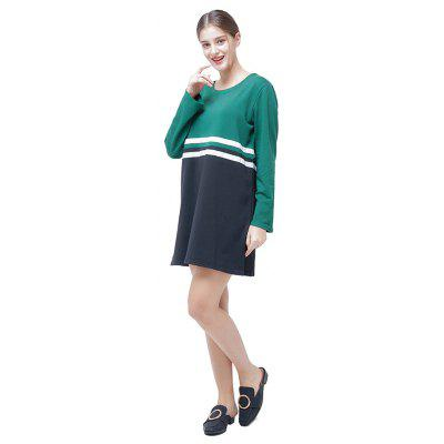 Фото Round Collar Long Sleeve Spliced Dress. Купить в РФ