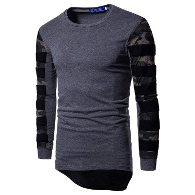 Fashion Camouflage Mesh Long Sleeves Asymmetric T-shirt