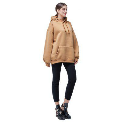 Фото Casual Pure Color Loose Letters Embroidery Hoodie. Купить в РФ