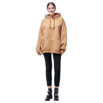 Casual Pure Color Loose Letters Embroidery Hoodie