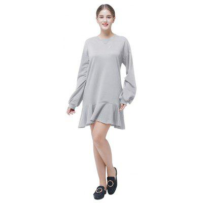 Pure Color  Loose Flounce Spliced DressWomens Dresses<br>Pure Color  Loose Flounce Spliced Dress<br><br>Dresses Length: Knee-Length<br>Material: Cotton, Polyester<br>Package Contents: 1 x Dress<br>Package size: 35.00 x 28.00 x 3.00 cm / 13.78 x 11.02 x 1.18 inches<br>Package weight: 0.4500 kg<br>Pattern Type: Solid<br>Product weight: 0.4200 kg<br>Season: Spring, Winter<br>Silhouette: A-Line<br>Style: Leisure<br>With Belt: No
