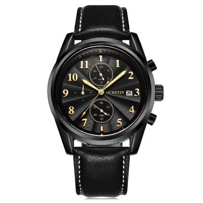 Buy BLACK BAND BLACK DIAL BLACK CASE OCHSTIN Men's Business Leather Band Date Quartz Watch for $23.36 in GearBest store