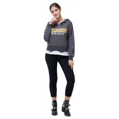 Fashion Casual Letters Printing Spliced Hoodie