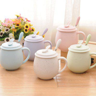 MCYH LG353 Creative Pattern Ceramics Cup with Spoon