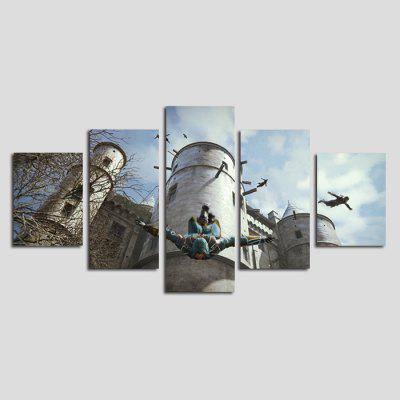 Dio pittura moderna Flying Man Frameless Canvas Print 5PCS