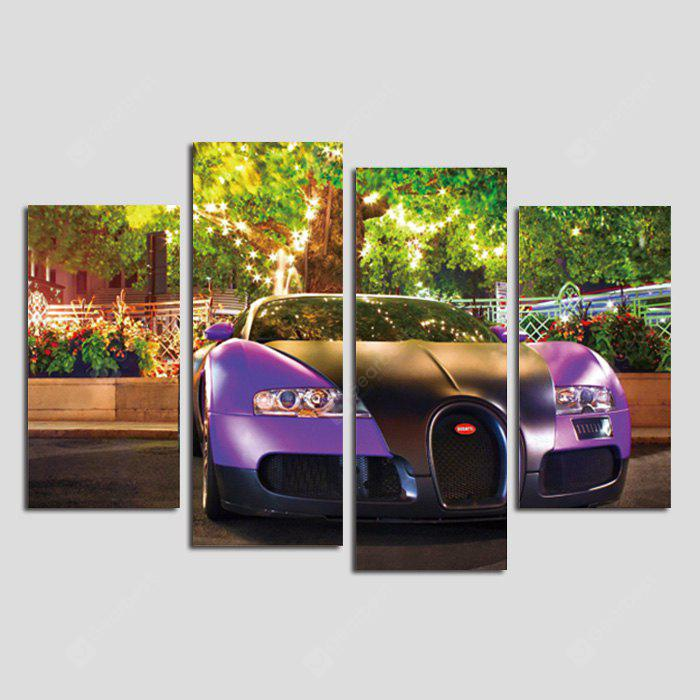God Painting Fantastic Car Frameless Canvas Decor Print 4PCS