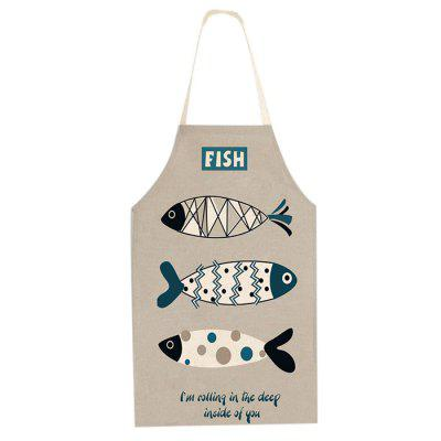 Cartoon Style Apron Creative Fish Printed Kitchen Tool