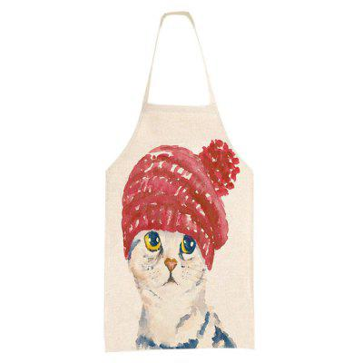 Cotton Linen Apron Cartoon Cat with Red Hat for Cooking