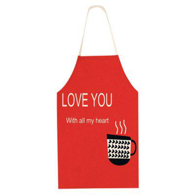 Cotton Linen Apron Cup + Love Words Pattern for Cooking