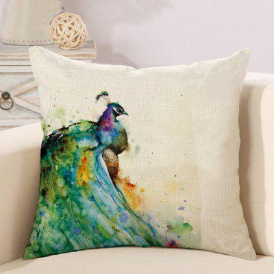 LAIMA BZ183 - 2 Peacock Pattern Flax Throw Pillow Case
