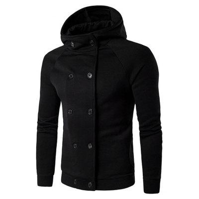 Male Casual Pure Color Loose Double Breasted Hoodie