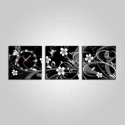 E - HOME Beautiful Pictures Canvas Wall Clock 3PCS