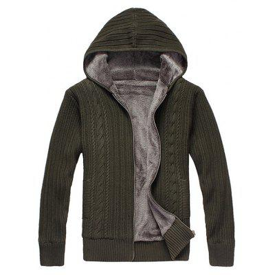 Male Casual Pure Color Thickening Zip up Sweater