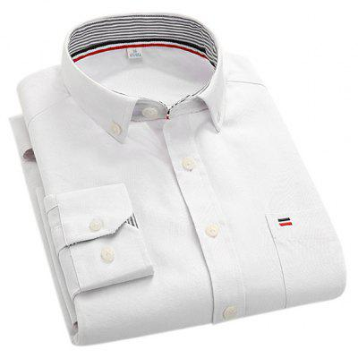 Color Male Embroidery Pure Simple Shirt Slim Rxfzfq8Ew