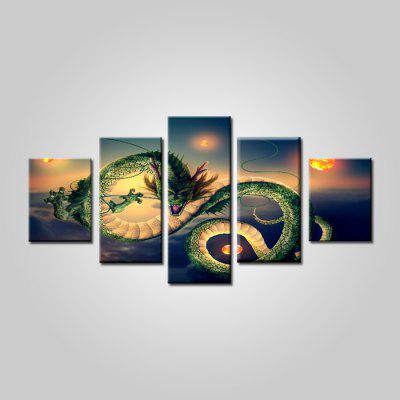 Modern Unusual Dragon Print Frameless Canvas Painting 5PCS