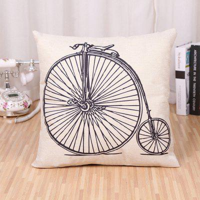 LAIMA BZ171 - 1 Cool Bicycle Pattern Flax Throw Pillow Case
