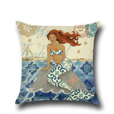 LAIMA Mermaid Square Linen Cushion Throw Pillow Case