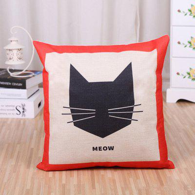 LAIMA BZ174 Cute Cat Pattern Flax Throw Pillow Case