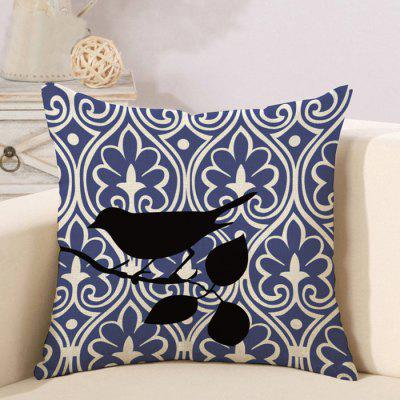 LAIMA BZ180 - 6 Retro Bird Pattern Flax Throw Pillow Case