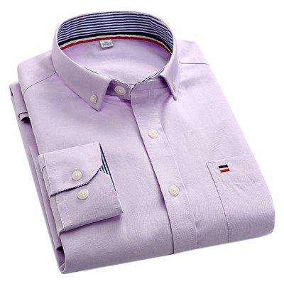 Male Simple Pure Color Slim Embroidery Shirt