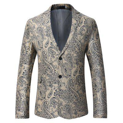Fashion Retro Two Buttons Printing Blazer Jacket