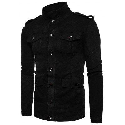 Solid Color Single Breasted Stand-up Collar Sweater for Men