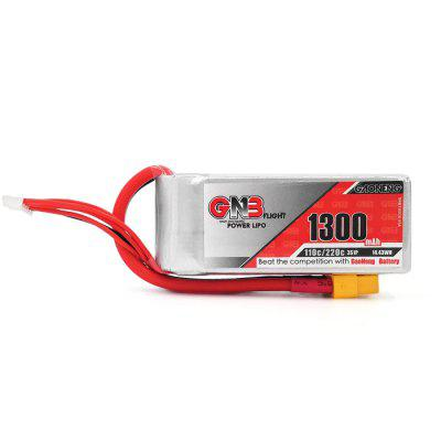GAONENG 14.8V 1300mAh 110C LiPo BatteryBattery<br>GAONENG 14.8V 1300mAh 110C LiPo Battery<br><br>Battery (mAh): 1300mAh<br>Battery Coulomb: 110C<br>Package Contents: 1 x Battery<br>Package size (L x W x H): 4.70 x 5.50 x 10.60 cm / 1.85 x 2.17 x 4.17 inches<br>Package weight: 0.1630 kg<br>Plug Type: XH-5P, XT60<br>Product size (L x W x H): 2.70 x 3.50 x 8.60 cm / 1.06 x 1.38 x 3.39 inches<br>Product weight: 0.1530 kg<br>Type: Battery
