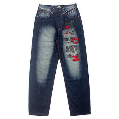 Male Trendy Unique Loose Embroidery Jeans