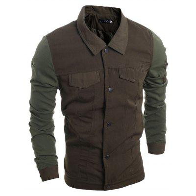 WSGYJ Male Turn-down Collar Button up Spliced Jacket